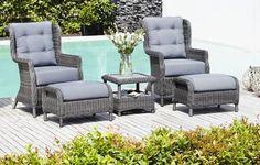 Bord FALKENBERG L46+2 stole+2 fodskamler | JYSK