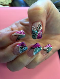 May 2015 Nails - Teal & Purple - Nageldesign 1 - halloween nails Purple Nail Designs, French Nail Designs, New Nail Designs, Pedicure Designs, Pedicure Nail Art, Gel Nail Art, Teal Nails, Sparkle Nails, Fabulous Nails
