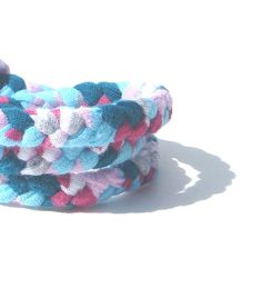 Fabric Bracelet braided in striped by SmiLeaGainCreations on Etsy, $10.00