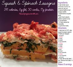 Squash and Spinach lasgna