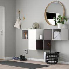 EKET Wall-mounted cabinet combination, dark grey x 175 cm - IKEA Ireland Ikea Eket, Home Design, Interior Design, Wall Design, Design Ideas, Flexible Furniture, Steel Wall, New Furniture, Cabinet Doors