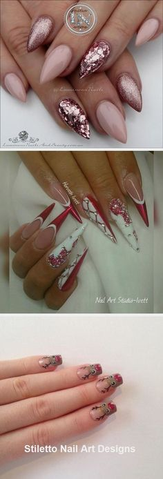30 Great Stiletto Nail Art Design Ideas #naildesign Winter Nail Designs, Toe Nail Designs, Nails Design, Trendy Nail Art, Nail Art Diy, Animal Nail Art, Stiletto Nail Art, Dope Nails, Christmas Nail Art