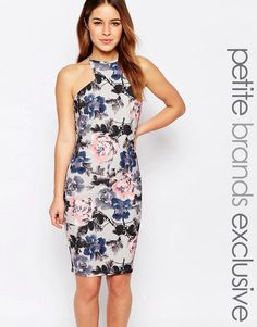 Paper+Dolls+Petite+Bloom+Print+Pencil+Dress+With+Cut+Away+Shoulder
