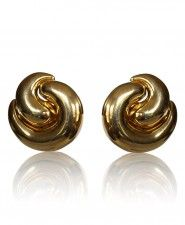 Francoise Montague Gold Swirl Clip Earrings