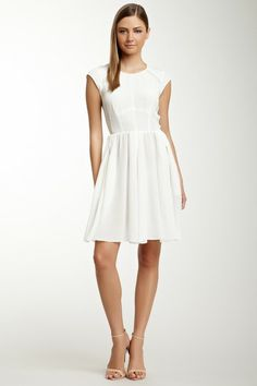 Pleated Silk Dress by Rebecca Taylor - Love crisp white dresses...