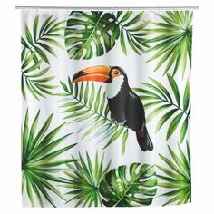 Wenko This shower curtain brings the flora and fauna of Central and South America into your bathroom at home. Actually, this iridescent bird lives in the tree tops of tropical rain forests. The curtain is suitable for both showers and bathtubs. Brown Bathroom Decor, Grey Bathrooms, Bathroom Interior, Deer Shower Curtain, Tropical Showers, Modern Shower Curtains, Toucan, Flora Und Fauna, Tree Tops