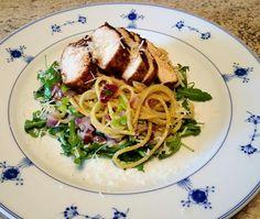 Kylling & pasta med manchego Til 4 2 store kyllingfileter 1 rødløk 10 cm purre Paprikakrydde...