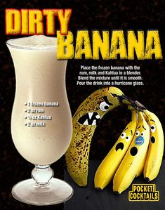 Mixed Drinks Alcohol, Alcohol Drink Recipes, Punch Recipes, Fireball Recipes, Baileys Recipes, Banana Drinks, Smoothie Drinks, Smoothies, Liquor Drinks