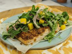 BBQ Potato Chip-Crusted Salmon with Watercress Salad recipe from Katie Lee via Food Network