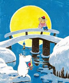 Moomin Poster Too Ticky on the Bridge Tove Jansson 24 x 30 cm - Finland Quality Design Love Ru, Illustration Story, Illustration Children, Moomin Valley, Tove Jansson, Christmas Cartoons, Cute Characters, Stop Motion, Finland