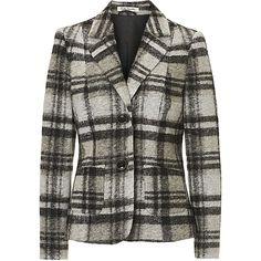 Betty Barclay Blazer, Schwarz/Beige Grau (11,710 INR) ❤ liked on Polyvore featuring outerwear, jackets, blazers, beige blazer, betty barclay, blazer jacket and beige jacket