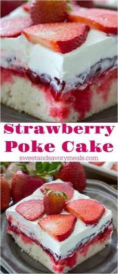 Strawberry Poke Cake is made with white cake, soaked with a mixture of white chocolate strawberry sauce, topped with strawberry pie filling and creamy whipped cream. desserts individual Best Strawberry Poke Cake [VIDEO] - Sweet and Savory Meals Smores Dessert, Dessert Dips, Summer Dessert Recipes, Easy Desserts, Delicious Desserts, Yummy Food, Cold Summer Desserts, Jello Desserts, Potluck Recipes