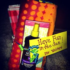 End of school teacher gift (beach towel, lunch bag, sunscreen, notepad)