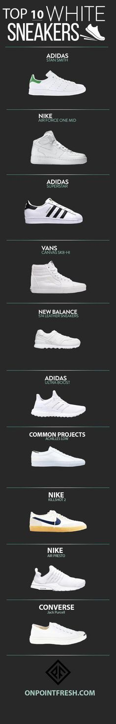 Navegando por la red me encontré con un ranking de las 10 mejores snikers blancas #Sneakers