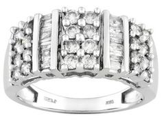 Diamond 1.00ctw Round And Baguette, 10k White Gold Ring