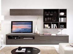 Ash Grey and Grey Glass TV Unit and Wall Storage System - Subtle grey TV stand…