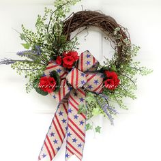 Rustic~FOURTH of JULY WREATH~Patriotic~Antiqued~Red~American Flag~Burlap~Natural~Blue~Tan~Primitive~Neutral~Sparkle~Festive by BarefootAlyArtworks on Etsy