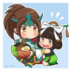 Chibi Zilong and Chang'e by Miyusa Ashibara Mobiles, Bang Bang, Moba Legends, The Legend Of Heroes, Mobile Legend Wallpaper, Anime Version, Emoji Wallpaper, Anime Neko, Cute Chibi