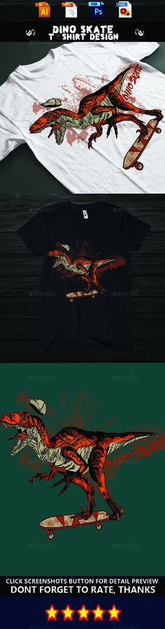 DINO SKATE #T-shirt design - Funny #Designs Download here: https://graphicriver.net/item/dino-skate-tshirt-design/15319035?ref=alena994