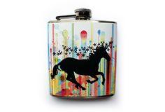 Colorful Unicorn Rainbow Splatter Flask
