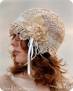 lovely lace hat. With the right outfit I would wear this.