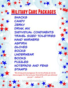 Printable Military Care Package Checklist #FCBlogger #sp