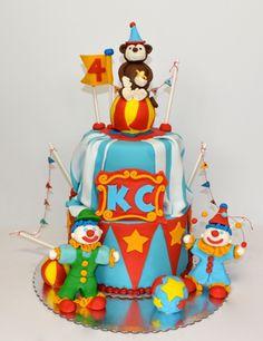 Circus Monkey & Clowns Birthday Cake