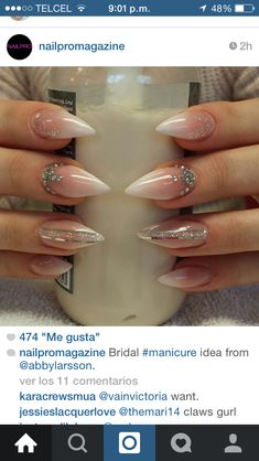 Amazing ombre nude nails (not sure about the shape) but I love the design