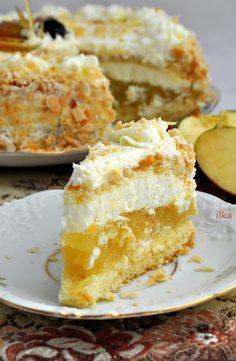 In my coffee kitchen: Torcik jabłkowy Dessert Cake Recipes, Sweet Desserts, Sweet Recipes, Polish Desserts, Polish Recipes, Baking Recipes, Cookie Recipes, 3 Ingredient Desserts, Pudding Cake
