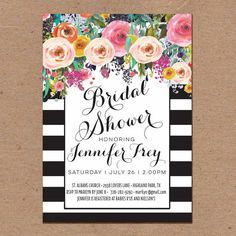 Bridal Shower Invitation Black and White Draping by PoplarPrint