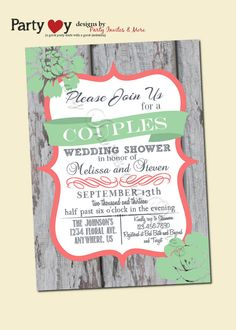 Couple's Wedding Shower Invitation Rustic von PartyInvitesAndMore, $10.00