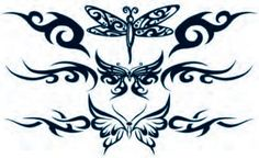 Tribal Butterfly Accents Temporary Tattoos