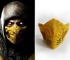 Mortal Kombat Mask, Mortal Kombat Costumes, Mortal Kombat Cosplay, Easy Face Masks, Half Face Mask, Cool Masks, Diy Face Mask, Scorpion Halloween, Cyberpunk