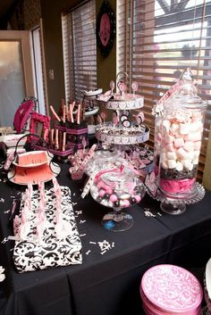 Parisian, French Party Ideas | Photo 1 of 36 | Catch My Party - The apothecary jar filled with marshmallows, etc. looks cool
