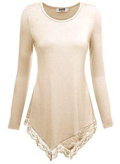856b98298c071c DJT Damen Langarmshirt Asymmetrisch Spitzen Saum T-Shirt Tunika Basic Shirt   Amazon.de  Bekleidung
