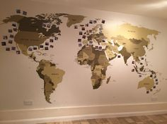 World wall map with a Polaroid photo of everywhere I've been