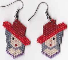 Beaded Images II, by Barbara Elbe (Brick-Stitch Delica Earring . Beaded Earrings Patterns, Beading Patterns Free, Bead Loom Patterns, Beading Tutorials, Knitting Patterns, Bracelet Patterns, Color Patterns, Seed Bead Crafts, Beading Techniques