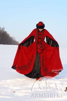 A fantastic #red #medieval #winter coat via ArtStreet on Etsy. It's also available in #white ! #wedding #bride #bridal #balkan #snow #ice #princess #queen #fantasy #highfantasy #LotR #elves #elven #rpg #larp