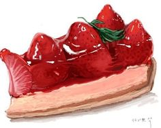 Strawberry pudding with a layer of cake.- Strawberry pudding with a layer of cake.How about yo… Strawberry pudding with a layer of cake. Food Design, Sweet Recipes, Real Food Recipes, Strawberry Pudding, Strawberry Cheesecake, Strawberry Tart, Dessert Illustration, Sweet Drawings, Food Sketch