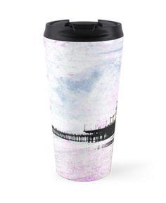 Santa Monica Pier Pink Grunge by coffee travel mug Travel Souvenirs, Travel Mugs, Coffee Travel, Funny Phrases, I Love Coffee, Santa Monica, Coffee Drinks, Grunge, Pink