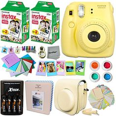 FujiFilm Instax Mini 8 Camera YELLOW  Accessories KIT for Fujifilm Instax Mini 8 Camera includes 40 Instax Film  Custom Case  4 AA Rechargeable Batteries  Assorted Frames  Photo Album  MORE -- Check out the image by visiting the link.