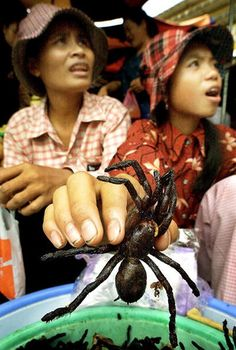 Street Food - Cambodian women selling grilled spiders in Phnom Penh's central market