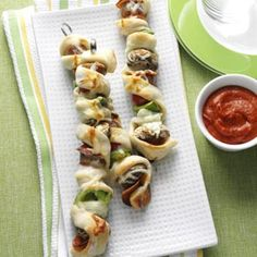 Pizza on a Stick Recipe from Taste of Home -- shared by Charlene Woods of Norfolk, Virginia