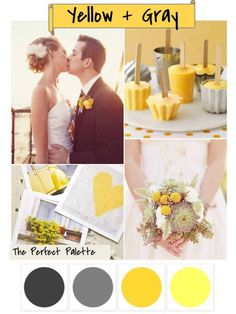 Shades of Yellow + Gray  Wedding #Colour #ideas #palette for weddings ... #Wedding #Ideas for brides, grooms, parents & planners ... https://itunes.apple.com/us/app/the-gold-wedding-planner/id498112599?ls=1=8 plus how to organise an entire wedding, with the money you have available. ♥ The Gold Wedding Planner iPhone #App ♥