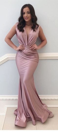 1996d3ba8d3 Simple Elegant Mermaid V-neck Floor-Length Prom Dress with Ruched from lass  Blush
