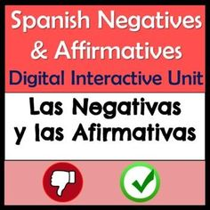 This Google Slides Spanish Negatives and Affirmatives interactive digital unit includes a negatives reading activity, grammar notes & examples, songs, videos, Edpuzzles, Wordwall games, a conversation wheel activity and numerous practices.Students will learn to use affirmative and negative Spanish expressions with this fun unit that has both independent and group activities. Reading Activities, Spanish Activities, Group Activities, Learning Resources, Spanish Basics, Middle School Spanish, Elementary Spanish, Spanish Lesson Plans, Spanish Lessons