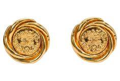Chanel Round Logo Earrings,   1993