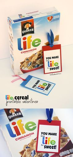 Surprise your Valentine (or your kids) with a little something special this Valentines Day? Just print this free Valentines bookmark and attach it to a box of Life Cereal. {You make my life so sweet, Valentine! Free printable from OneCreativeMommy.com}