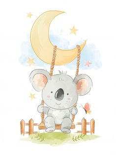 Cute koala siting on swing illustration Premium Vector Baby Animal Drawings, Cute Drawings, Koala Illustration, Baby Shower Background, Baby Wallpaper, Cute Mermaid, Baby Drawing, Watercolor Animals, Cabbage Patch Kids