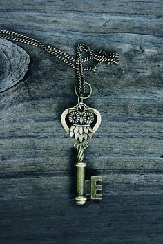 Owl Key Charm Necklace by MythicalFolk on Etsy, $14.00